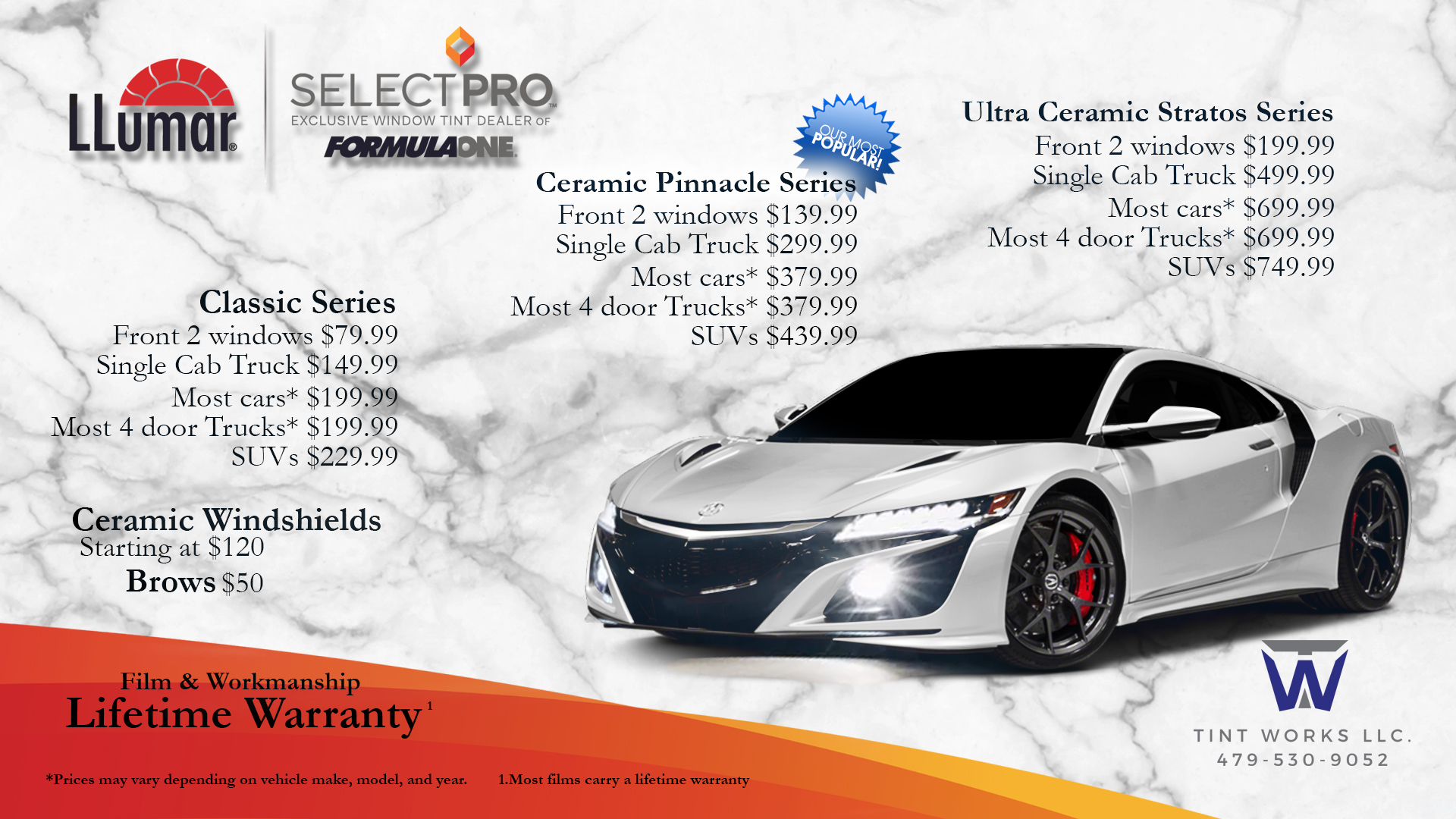 Window Tint Pricing Menu